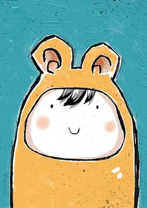 Happy Yellow Bear! A4 300dpi