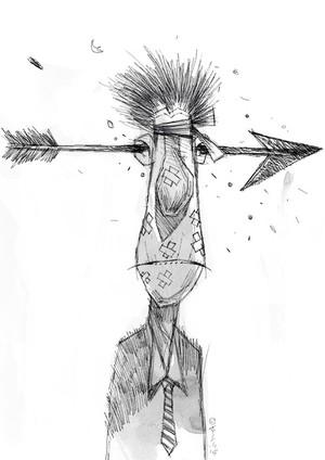 Arrow in the head of Businessman!