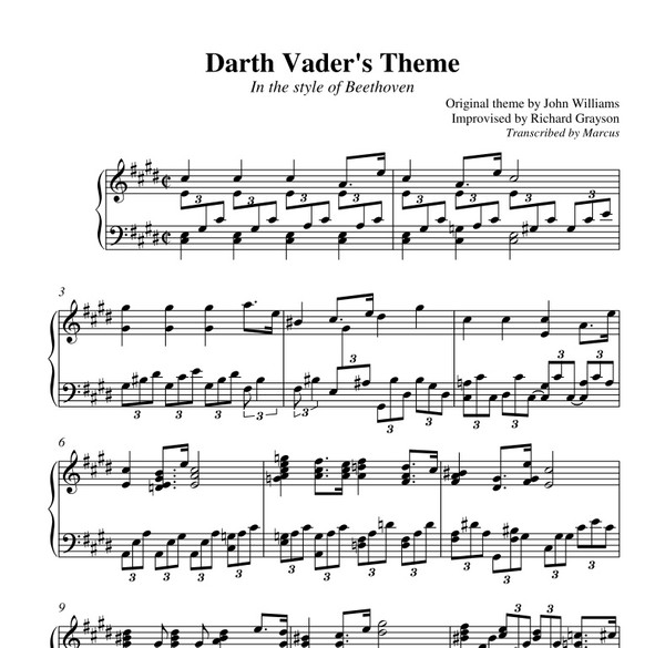 Imperial March in the style of Beethoven (Piano sheet music)