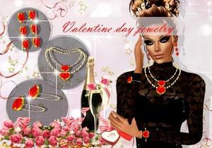 SET MESH JEWELRY HEART VALENTINE DAY