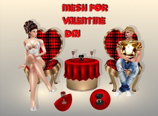 CHAIR-TABLE+RING VALENTINE MESH