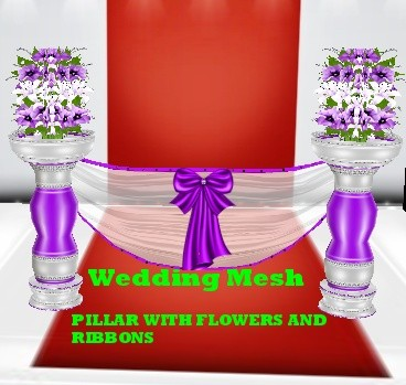 wedding PILLAR WITH FLOWERS AND RIBBONS MESH