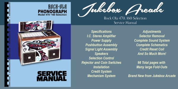 Rock Ola  Model 470, 160 Selection Service Manual & Brochure NEW from Jukebox Arcade