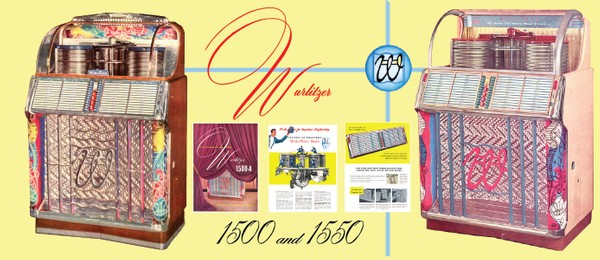 Wurlitzer 1500, 1500A 1550, 1550A (1952-53) Service and Parts Manual COLOR Diagrams!