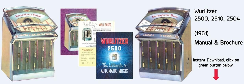 Wurlitzer 2500-2510 2504 Jukebox Manual