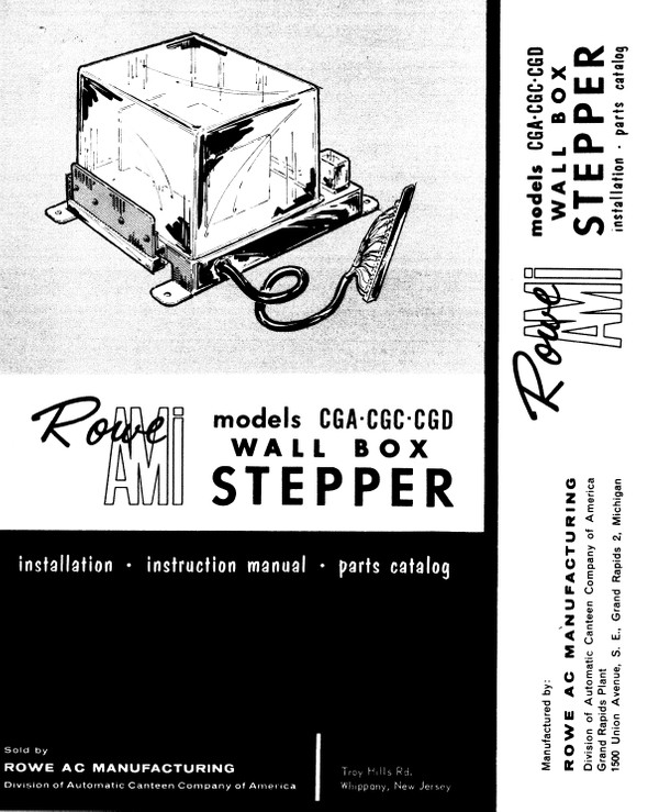 AMI / Rowe CGA, CGC, CGD Wall Box Stepper, Installation, Instruction, Parts Catalog