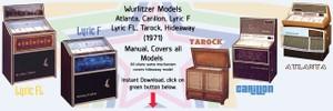 Wurlitzer Models Atlanta, Carillon, Lyric F Lyric FL, Tarock, Hideaway (1971)