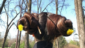 Hair play ponytails, buns in a park 10 minutes