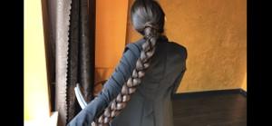 Long hair ponytail, braid, bun 15 minutes