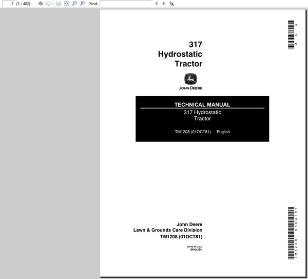 John Deere 317 Hydrostatic Tractor Technical Manual TM-1208