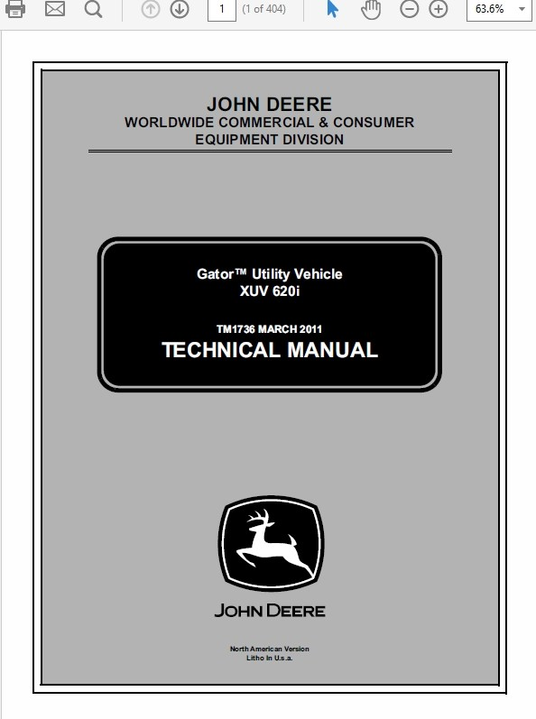 John Deere XUV 620i Gator Utility Vechicle Technical Manual TM-1736