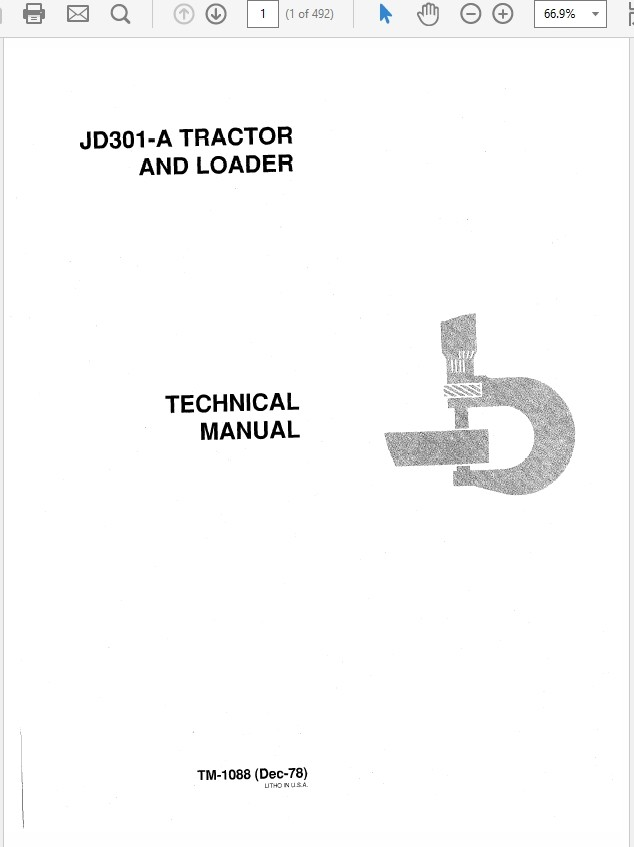 John Deere 301a Tractor And Loader Technical Manual Tm