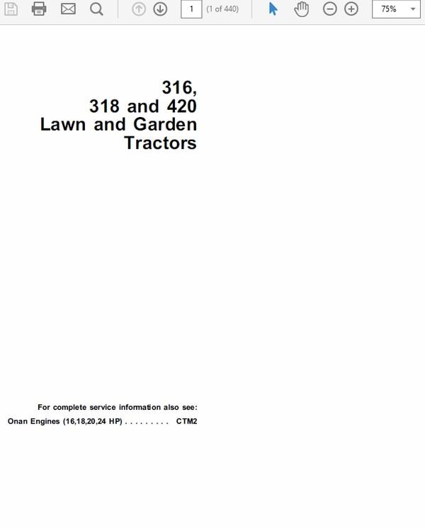 John Deere 316, 318 420 Lawn and Garden Tractors Technical Manual TM-1590