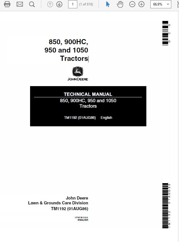 John Deere 850, 900HC, 950 and 1050 Tractors Technica