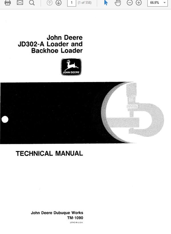 John Deere 302A Loader and Backhoe Loader Technical Manual TM-1090
