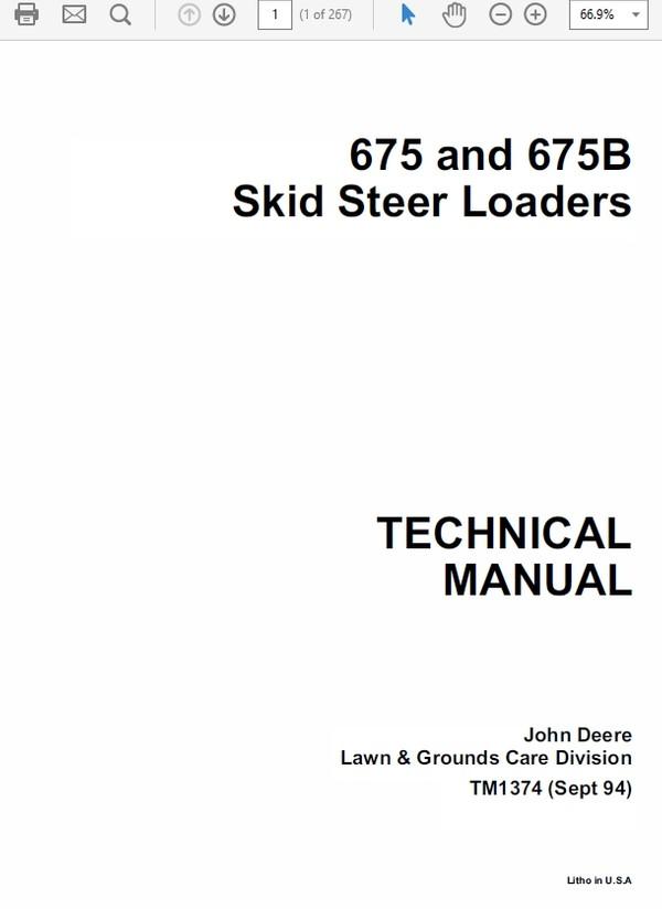John Deere 675 and 675B Skid Steer Loader Technical Manual TM-1374