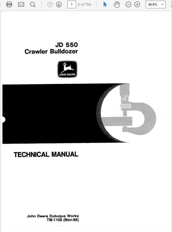 John Deere 550  Crawler Bulldozer Technical Repair Manual TM-1108
