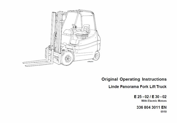 Linde Electric Forklift Truck 336 Series E20, E25, E30 Workshop Service Manual
