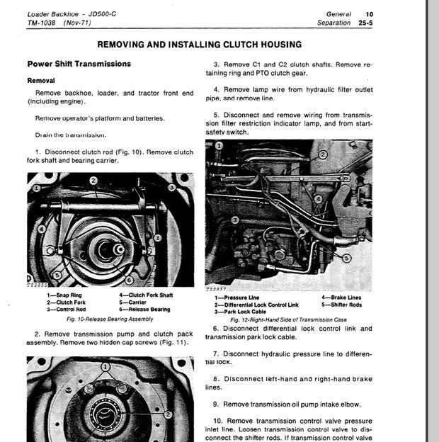 john deere 500c loader backhoe technical manual tm-1038