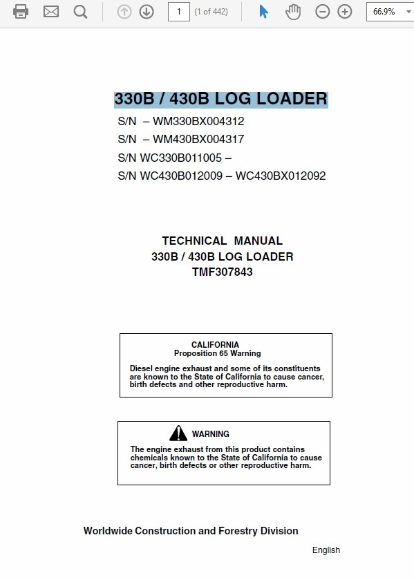 John Deere 330B 430B Log Loader Technical Manual TM-F307843
