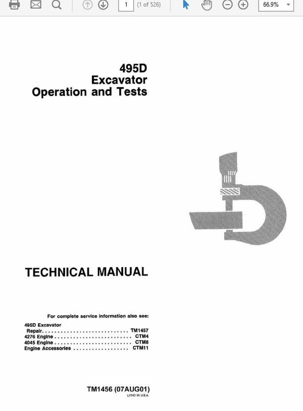 John Deere 495D Excavator Technical Manual TM-1456 & TM-1457
