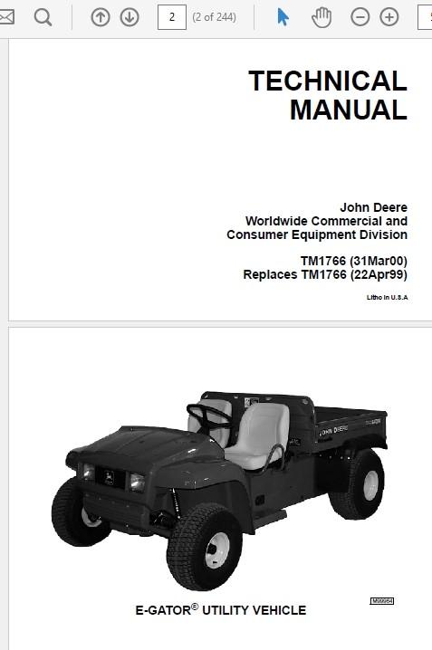 John Deere E-Gator Technical Manual TM-1766