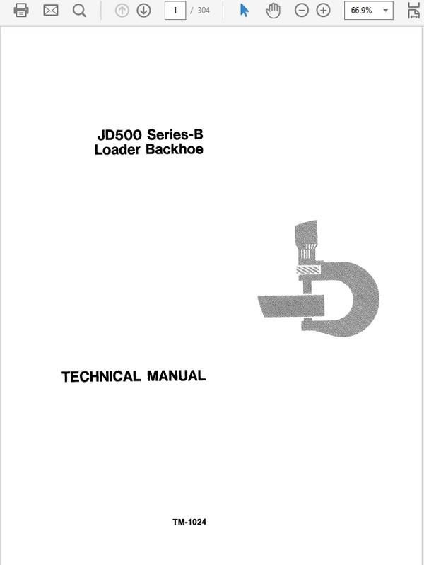 John Deere 500 Series B Loader Backhoe Technical Manual TM-1024