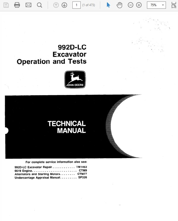 John Deere 992D-LC Excavator Technical Manual TM-1462 & TM-1463