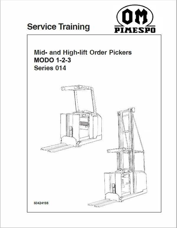 OM PIMESPO Modo 1,2,3 Series 014 Mid and High-lift Order Pickers Workshop Repair Manual