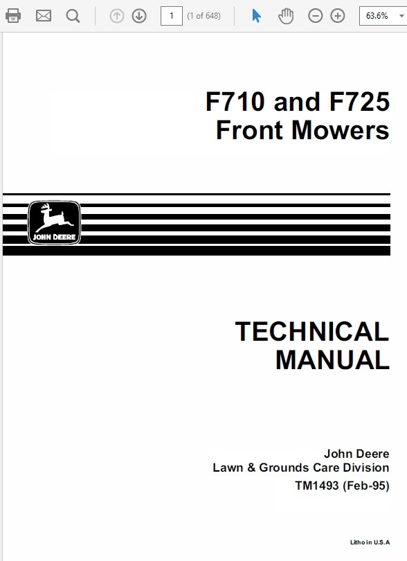 John Deere F710 and F725 Front Mowers TM-1493
