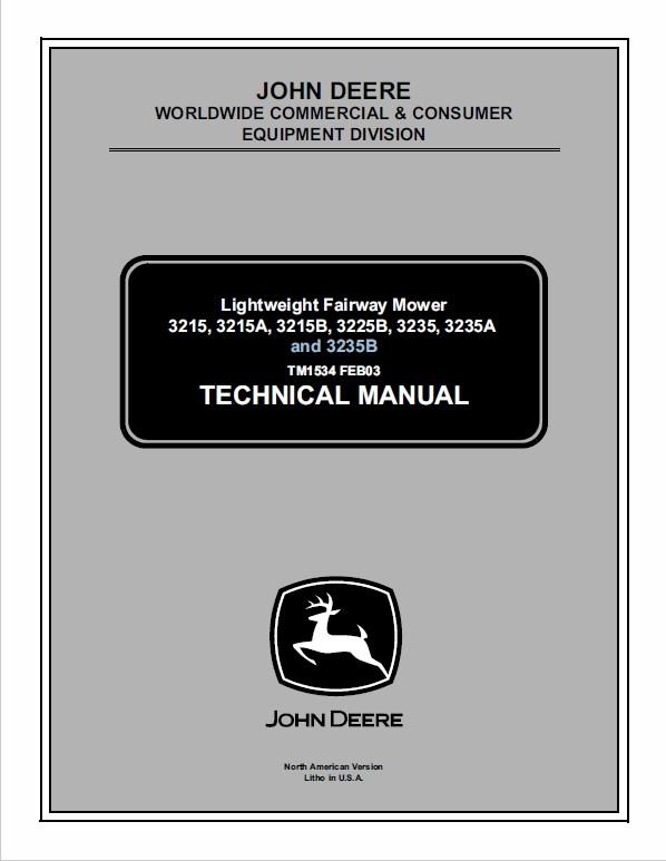 John Deere 3215, 3215A, 3215B, 3225B, 3235, 3235A, 3235B Mower Manual TM-1534