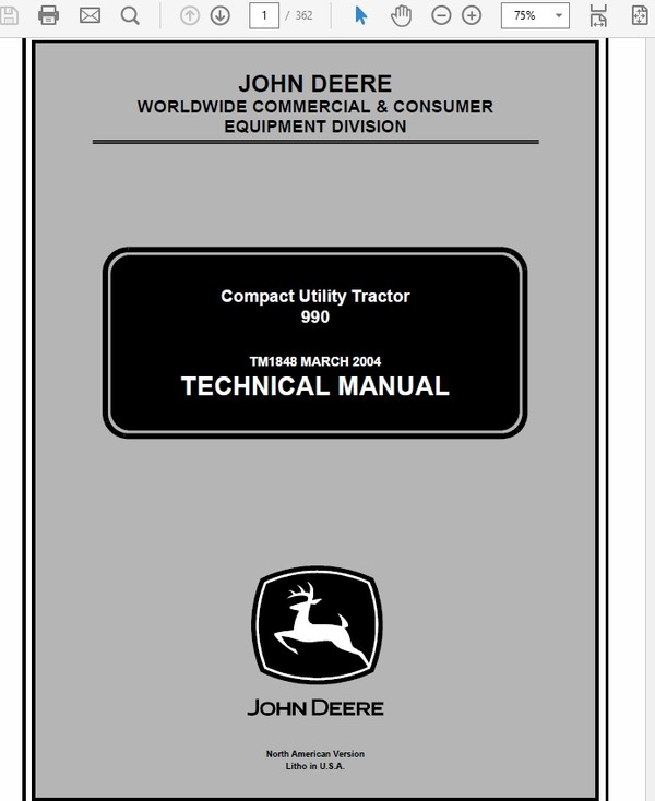 John Deere 990 Compact Utility Tractos Technical Manual TM-1848