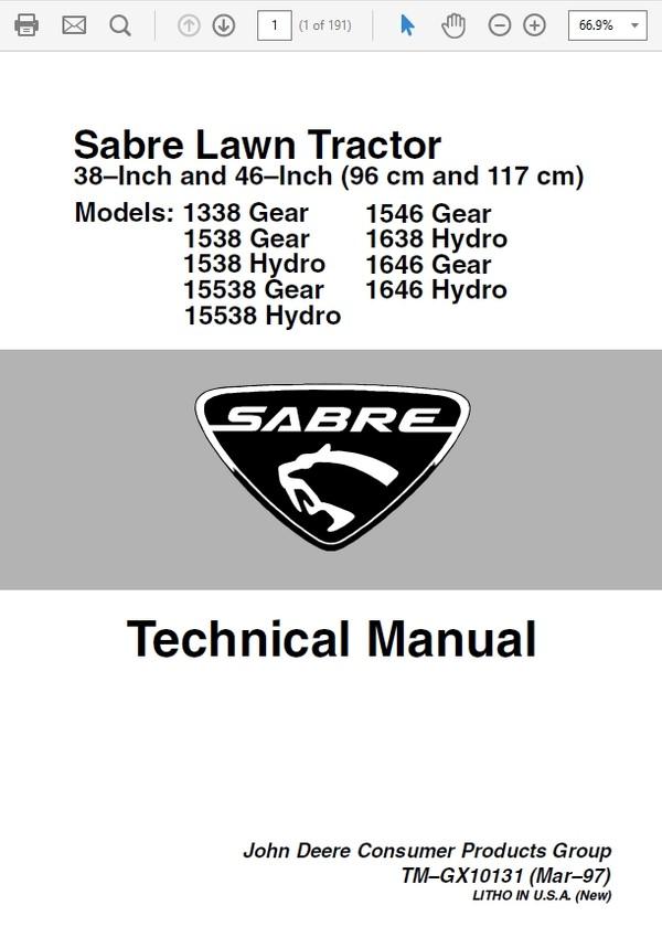 John Deere Sabre Lawn Tractors 1338 1538 1546 1638 Technical Repair Manual tmgx10131
