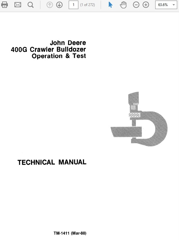 John Deere 400G Crawler Bulldozer Operation & Test Technical Manual TM-1411