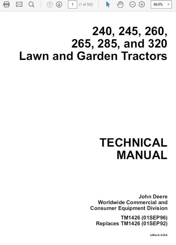 John Deere 240, 245, 260,265, 285, 320 Lawn and Garden Tractors TM-1426