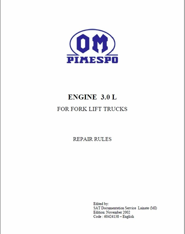 OM Pimespo Engine 3.0L For Forklift Trucks Repair Rules Manual