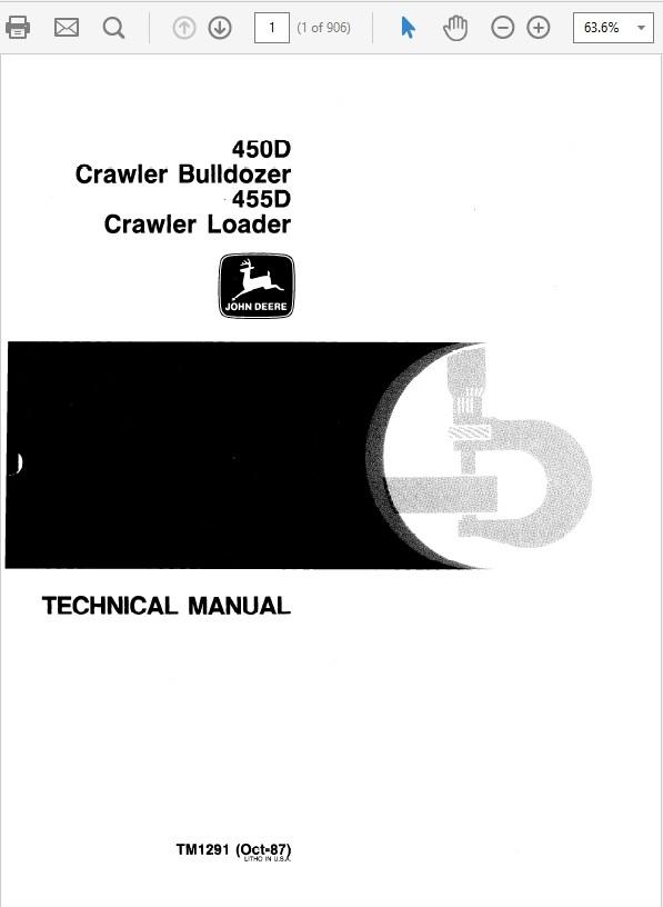 John Deere 450D & 455D Crawler Bulldozer Loader Repair Technical Manual TM-1291