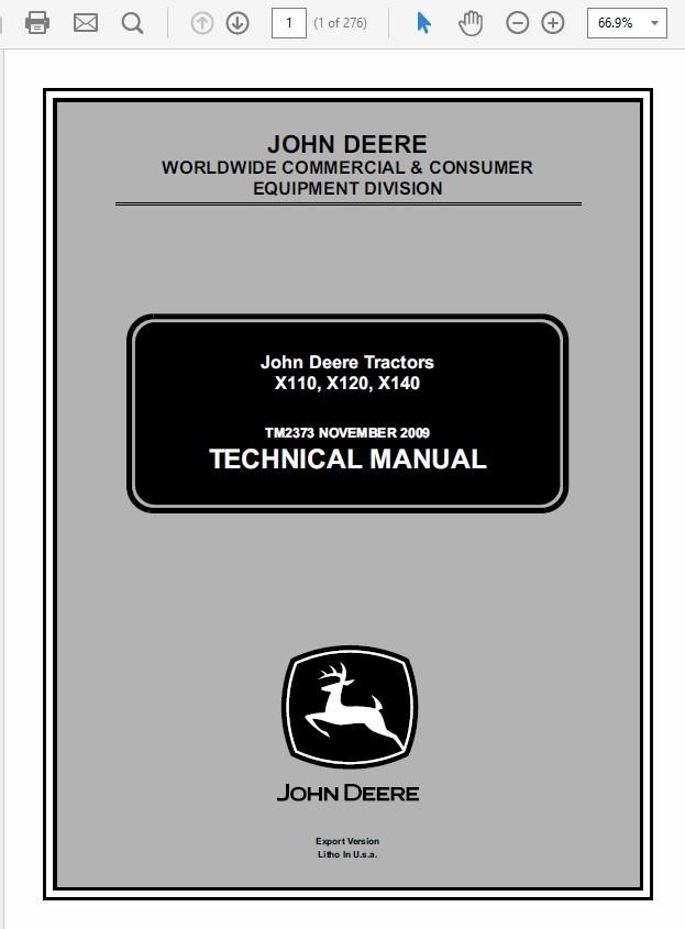 John Deere X110, X120, X140 Tractors Technical Manual