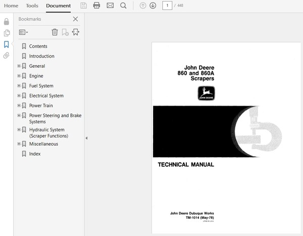 John Deere 860 and 860A Scraper Technical Manual TM-1014
