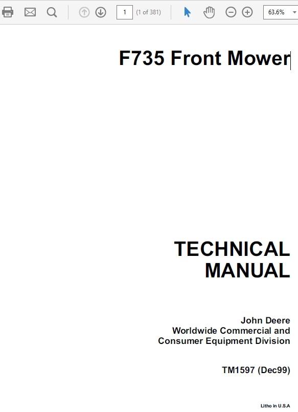 John Deere F735 Front Mower TM-1597