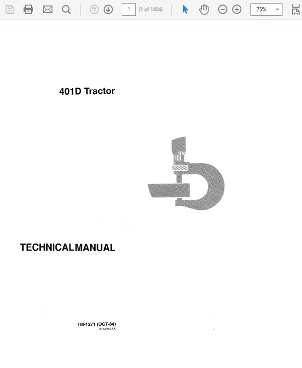John Deere 401D Tractor Technical Manual TM-1271