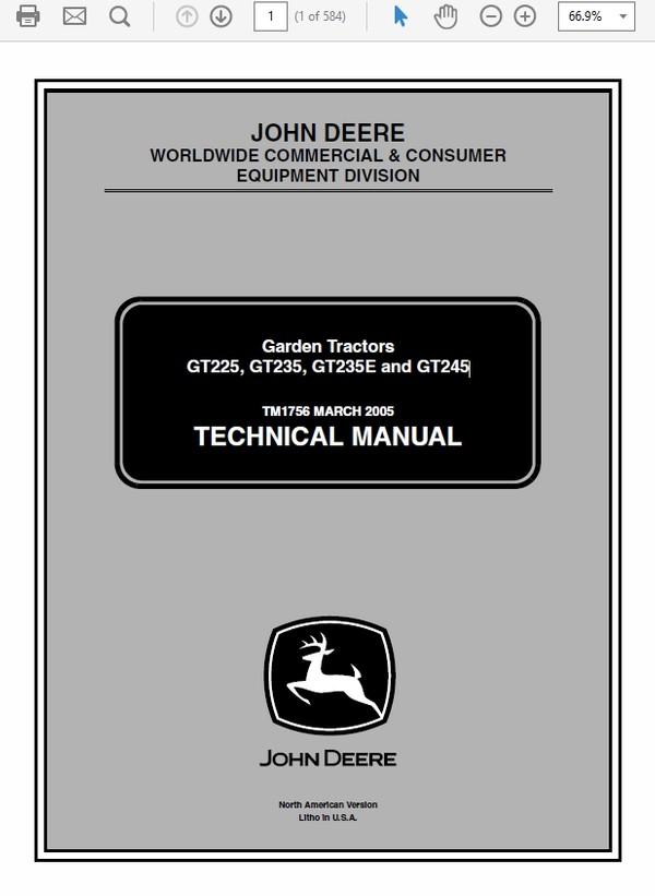John Deere GT225, GT235, GT235E and GT245 Garden Tractors Technical Manual TM-1756