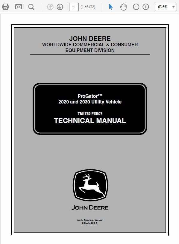 John Deere ProGator 2020 and 2030 Utility Vehicle Technical Manual TM-1759