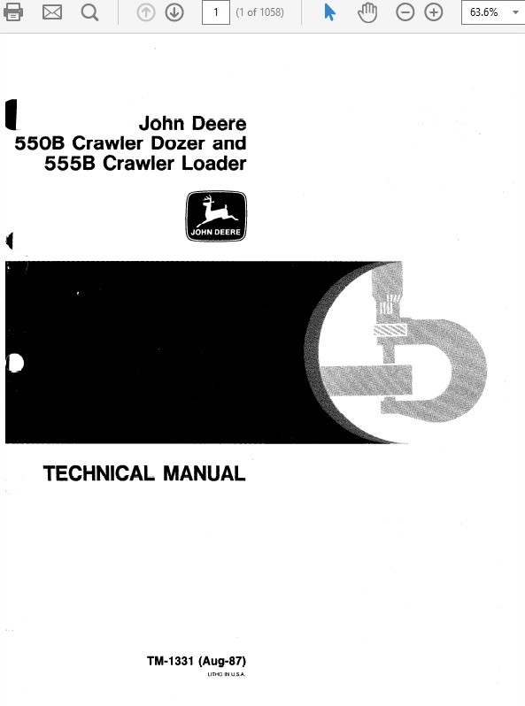 John Deere 550B & 555B Crawler Bulldozer Loader Technical Manual TM-1331