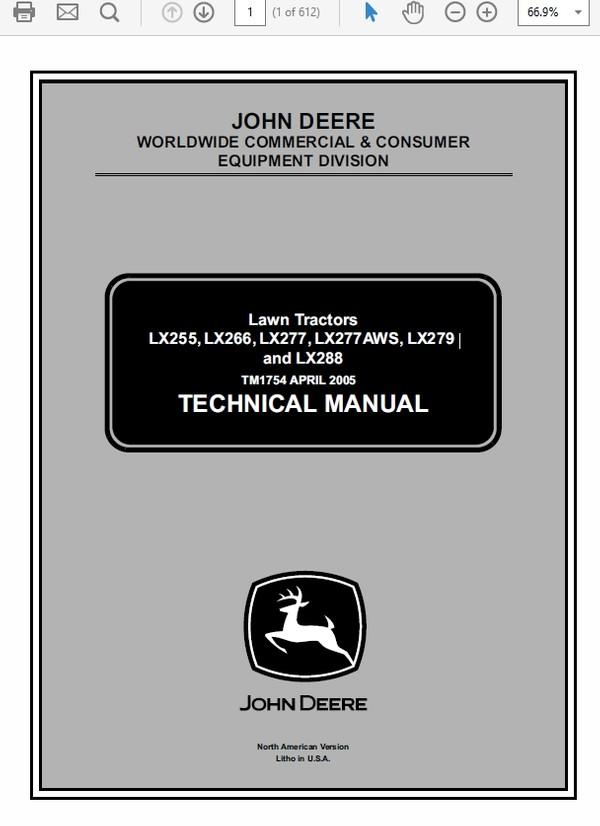 John Deere LX255, LX266, LX277, LX277AWS, LX279, LX288 Technical Manual TM-1754