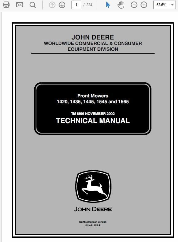 John Deere 1420, 1435, 1445, 1545, 1565 Front Mowers TM-1806