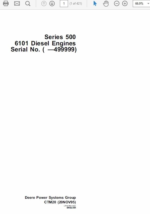 John Deere Series 500 6101 Diesel Engines CMT20 Technical Manual