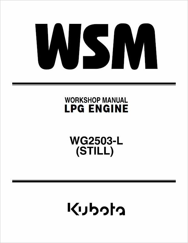 Still WSM WG2503-L Kubota LPG Engine Workshop Repair Manual