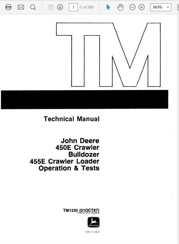 John Deere 450E & 455E Crawler Bulldozer Loader Repair Technical Manual TM-1233