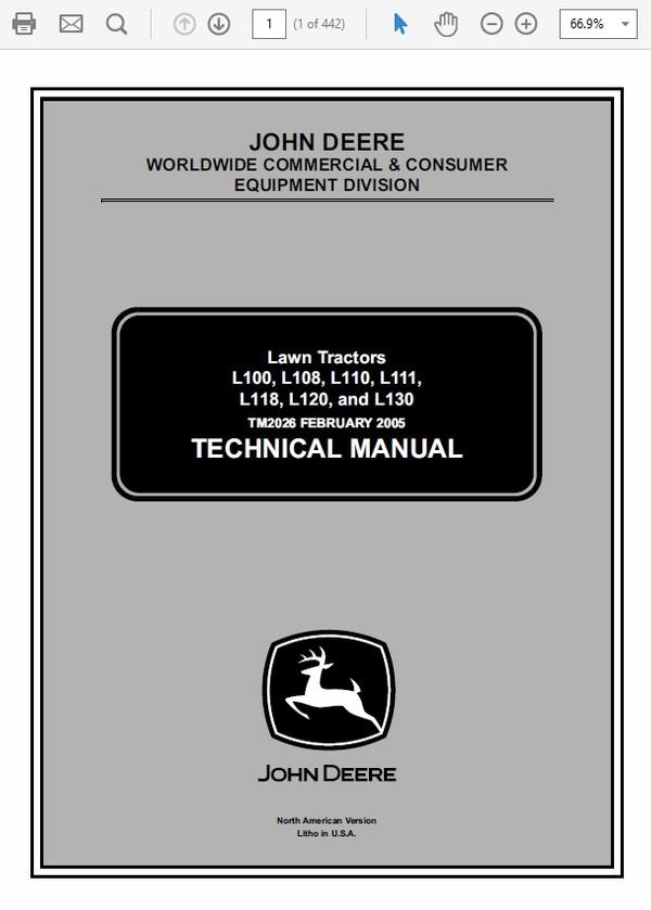 John Deere L100, L108, L110, L111, L118, L120, L130 Lawn Tractor TM-2026